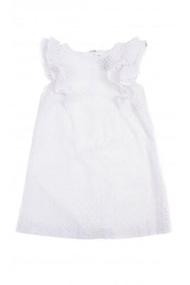 Biała letnia sukienka dziewczęca ażurowa, Polo Ralph Lauren