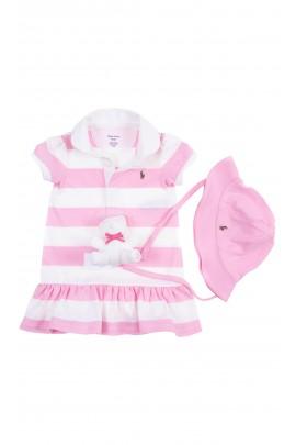 Komplet niemowlęcy sukieneczka, kapelusz i maskotka, Ralph Lauren