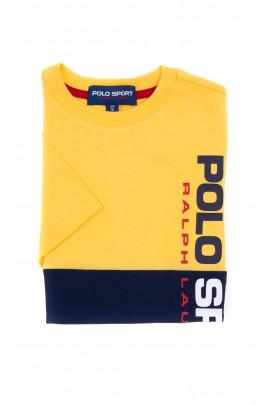 T-shirt żółto-granatowy POLO SPORT chłopięcy, Polo Ralph Lauren