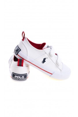 Białe tenisówki dziecięce na rzepy, Polo Ralph Lauren