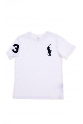 Biały t-shirt chłopięcy z graczem polo, Polo Ralph Lauren
