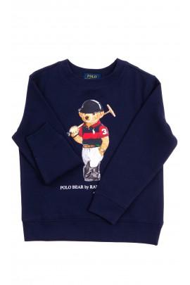 Granatowa bluza dresowa z kultowym misiem, Polo Ralph Lauren