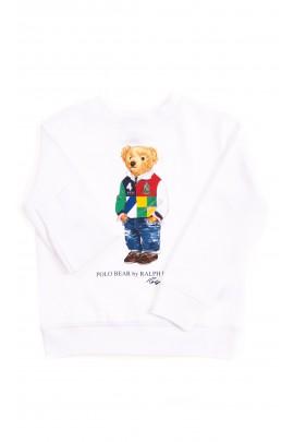 Biała bluza dresowa z kultowym misiem, Polo Ralph Lauren