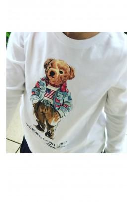 Biały t-shirt na długi rękaw z misiem Polo - Bear, Polo Ralph Lauren