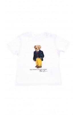 Biały t-shirt chłopięcy z kultowym Polo Bear, Polo Ralph Lauren