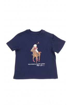 Granatowy t-shirt na krótki rękaw z nadrukiem misia, Polo Ralph Lauren