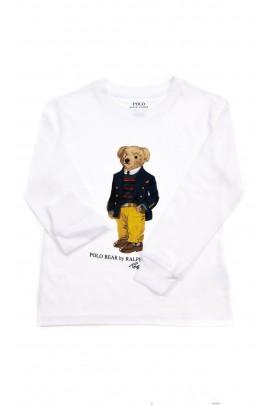 Biały t-shirt chłopięcy na długi rękaw z misiem - Bear, Polo Ralph Lauren