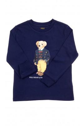 Granatowy t-shirt na długi rękaw z misiem Bear, Polo Ralph Lauren