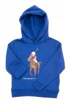Niebieska bluza dresowa z kapturem z kultowym misiem, Polo Ralph Lauren