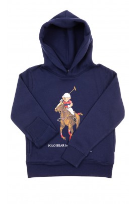 Granatowa bluza dresowa z kapturem z kultowym misiem, Polo Ralph Lauren