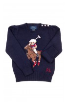 Granatowy sweter dziewczęcy z misiem-Bear, Polo Ralph Lauren