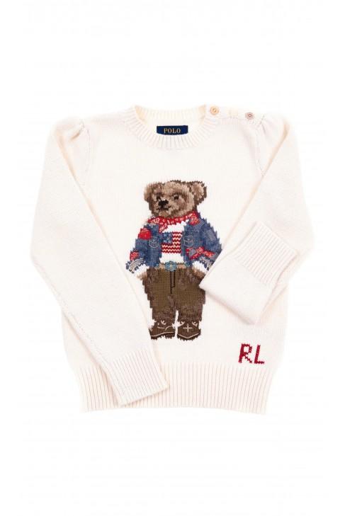 Sweter dziecięcy écru z misiem, Polo Ralph Lauren