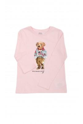 Różowy t-shirt na długi rękaw z misiem Polo -Bear, Polo Ralph Lauren