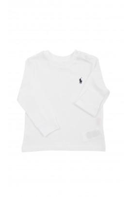 Biały t-shirt niemowlęcy na długi rękaw, Ralph Lauren