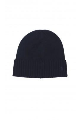 Granatowa czapka wciągana z dzianiny, Polo Ralph Lauren