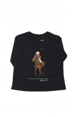 Granatowy t-shirt niemowlęcy z misiem jako gracz polo, Ralph Lauren