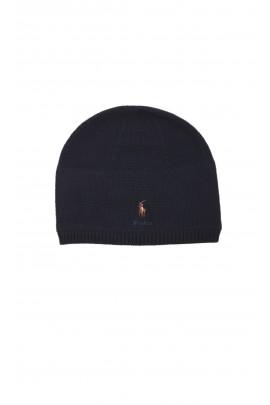 Granatowa czapka wciągana ocieplona polarem, Polo Ralph Lauren