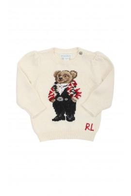 Sweter niemowlęcy ecrue dla dziewczynki, Ralph Lauren