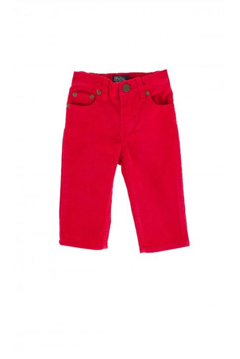 Spodnie sztruksowe czerwone z naszywką skórzaną, Polo Ralph Lauren