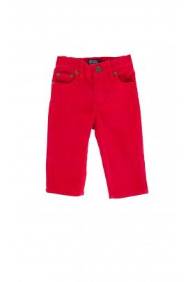 Spodnie sztruksowe czerwone z naszywką skórzaną,Polo Ralph Lauren