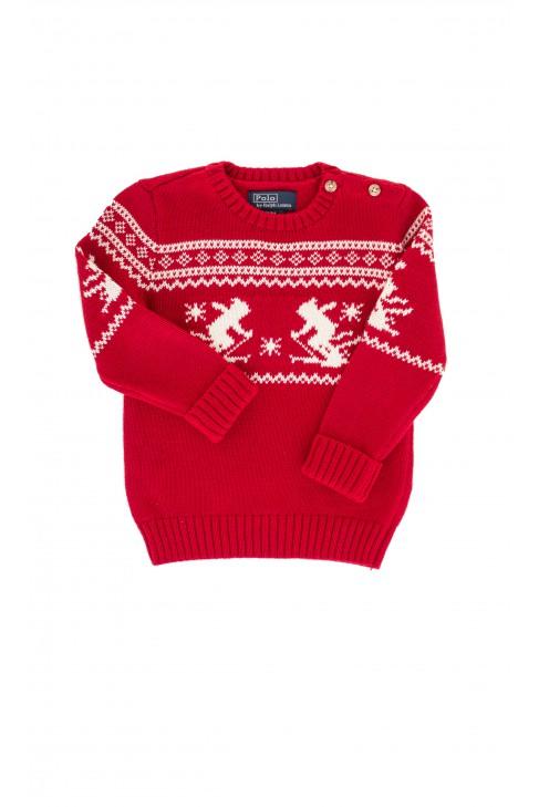 Sweter czerwony we wzory, Polo Ralph Lauren