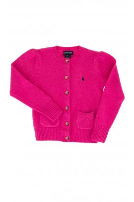 Sweter amarantowy z granatowym konikiem, Ralph Lauren
