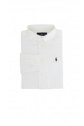 Elegancka biała koszula z granatowym konikiem, Polo Ralph Lauren