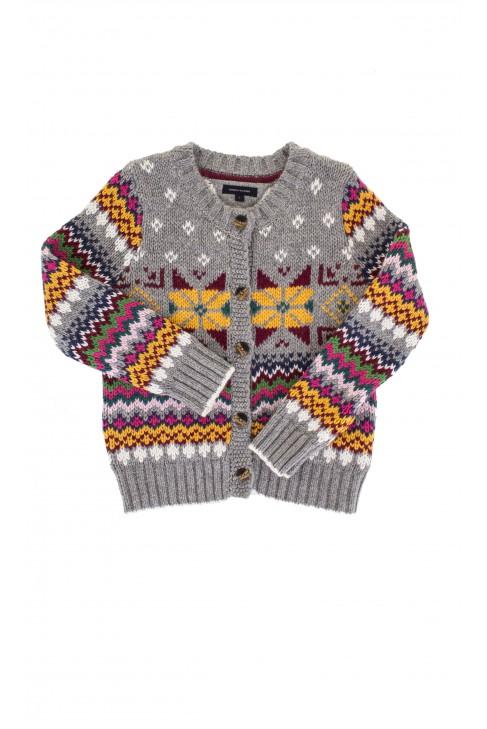 Sweter szary w kolorowe wzory, Tommy Hilfiger