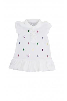 Biała sukienka polo w kolorowe koniki Ralph Lauren