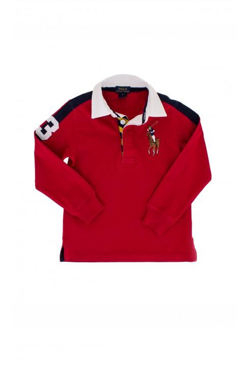 Czerwone polo z białym kołnierzykiem, Polo Ralph Lauren