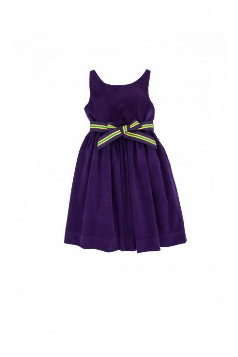 Fioletowa sukienka sztruksowa Ralph Lauren