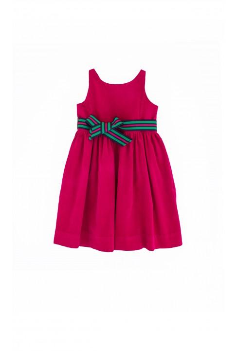 Różowa (fuksja) sukienka sztruksowa Ralph Lauren