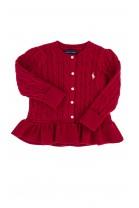 Sweterek czerwony z falbanką Ralph Lauren