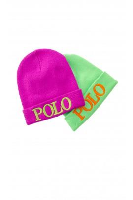 Czapka Polo Ralph Lauren w kolorze fuksji z zielonym ,dużym napisem POLO