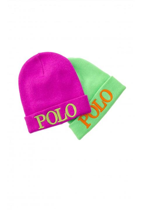 Czapka zielona Polo Ralph Lauren, z dużym pomarańczowym napisem POLO