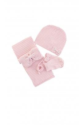 Komplet dziewczęcy Tartine et Chocolat, szalik, czapka, rękawiczki, pudrowy róż