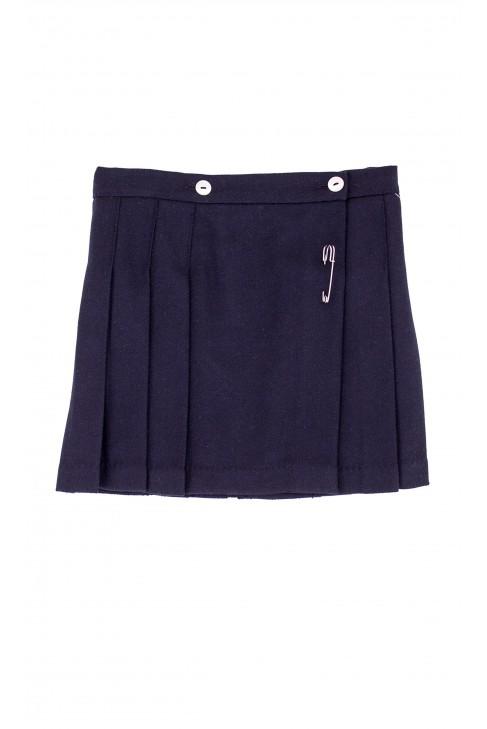 Pleated, navy blue skirt with cuff pleat, Mariella Ferrari