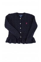 Sweterek granatowy z falbanką, Ralph Lauren