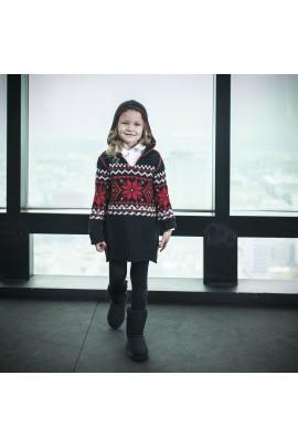 Dziewczęca, czarna tunika z elementami świątecznymi Polo Ralph Lauren