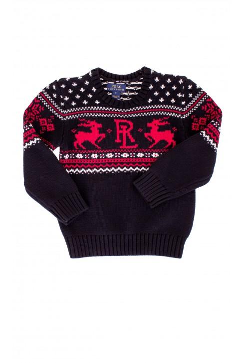 Czarny świąteczny sweter chłopięcy Polo Ralph Lauren