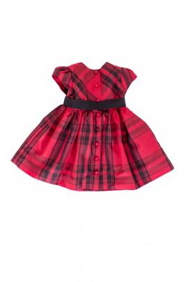 Jedwabna sukienka w czerwono-czarną kratę Polo Ralph Lauren