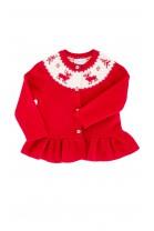 Czerwony, rozpinany, świąteczny sweter zakończony falbanką Polo Ralph Lauren