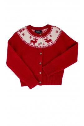 Czerwony, świąteczny, rozpinany sweter, zakończony ściągaczem Polo Ralph Lauren