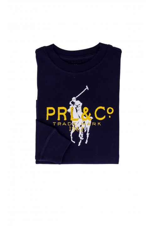 Chłopięcy, granatowy t-shirt, długi rękaw, z przodu żółte logo Polo Ralph Lauren