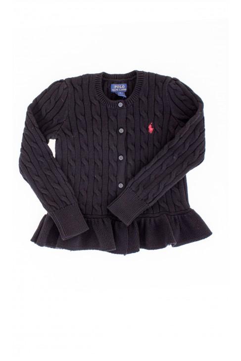Czarny rozpinany z falbanką sweter Polo Ralph Lauren