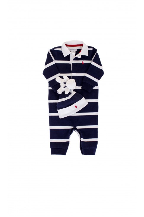 Baby sleepers striped white-and-navy-blue, Ralph Lauren