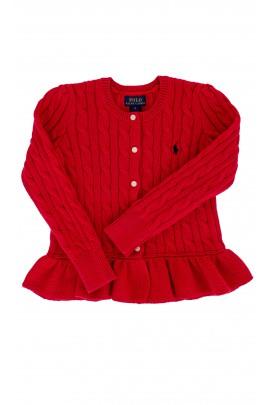 Czerwony sweter z falbanką Polo Ralph Lauren