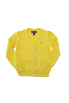 Żółty rozpinany sweter dziewczęcy, Polo Ralph Lauren
