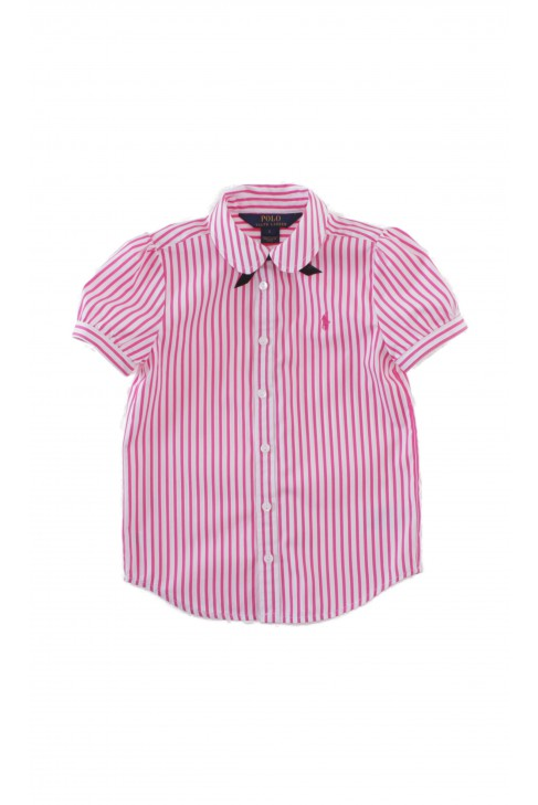Bluzka w pionowe różowo -białe paski, Polo Ralph Lauren