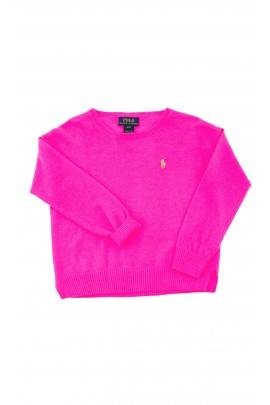 Sweter różowy (neonowy) dziewczęcy, Polo Ralph Lauren
